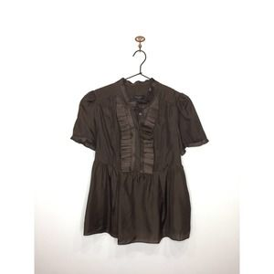 Ted Baker Brown Silk Short Sleeve Pleated Blouse